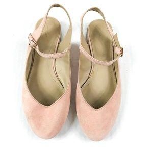Zara Pink Suede Flats 36